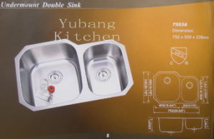 Undermount Double Sink for Kitchen (Kitchen sink) (7553A) pictures & photos