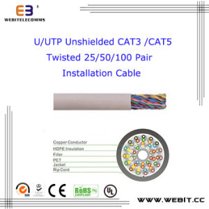 U/UTP Unshielded Cat 3 //Cat 5 Twisted 25/50/100 Pair Installation Cable pictures & photos