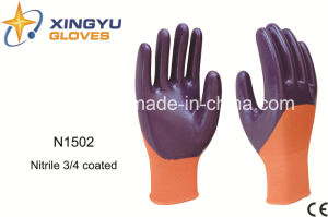 Polyester Shell Nitrile Coated Safety Work Gloves (N1502) pictures & photos