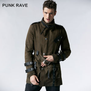 Coffee Fashion Gothic Men Long Winter Military Long Coat (Y-532) pictures & photos
