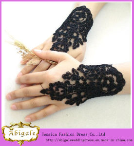 New Design High Quality Hot Sale Lace Short Length Sexy Black Fingerless Wedding Lace Gloves Yj0141