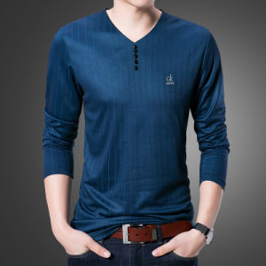 New Brand Long Floral Gk Logo Sleeve V-Neck Collar Plain Casual Slim Fit T-Shirt pictures & photos