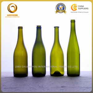 High Quality 750ml Green Burgundy Wine Bottle with Cork (086) pictures & photos