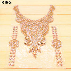 Wholesale Garments Rhinestone Beaded Neckline Silver Collar Neckline Applique