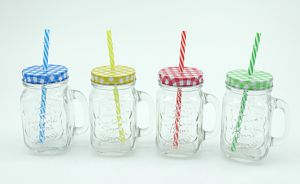 Mason Jar with Handle Color Lid Strip of Glass Bottle of Glassware pictures & photos