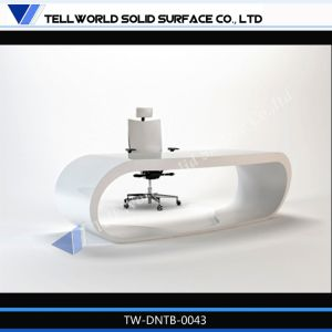 Elegant Curved S-Shaped High Gloss White Office Desk for Office Furniture pictures & photos