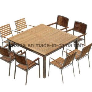 1.5*1.5m Square Stainless Steel Teak Wood Dining Table Set pictures & photos