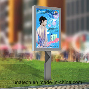 Outdoor Square Post Pedestal Aluminium Rolling LED Light Box Ad Billboard pictures & photos