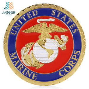 Customize USA Marine Deboss Paint Colors Metal Challenge Coin with Gear Border pictures & photos