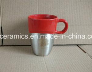Laser Engraved Stainless Steel Bottom Ceramic Mug pictures & photos