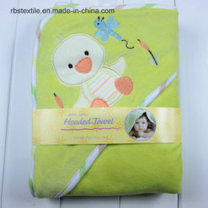 Promotional Infant Velvet/Cotton Swaddle Blanket Hooded Towel Poncho pictures & photos