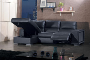 Genuine L Shape Leather Sofa with Black Color pictures & photos