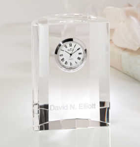 Crystal Souvenir of Crystal Desk Clock for Desktop & Office pictures & photos