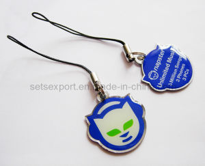 Stainless Steel Logo Printed Cell Phone Charms, Phone Pendant