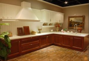 Cherry Solid Wood European Style Kitchen Cabinet (Customized) pictures & photos