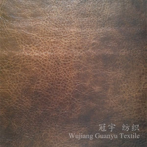 Decorative Leather 100% Polyester Sofa Suede Fabric with Bronzing Treatment pictures & photos