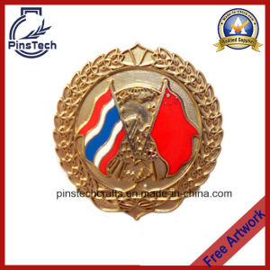 Quality Hard Enamel Flag Lapel Pin Badge with Gold Finish pictures & photos