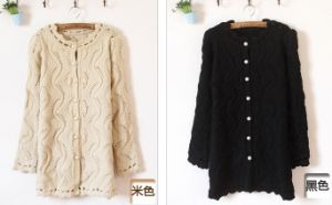 Hollow Knit Female Pearl Button Hubble Bubble Sleeve Jacket (BTQ034) pictures & photos