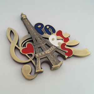 Souvenir Gift Emboss Engrave Color Logo Paris Fridge Magnet (F5025)
