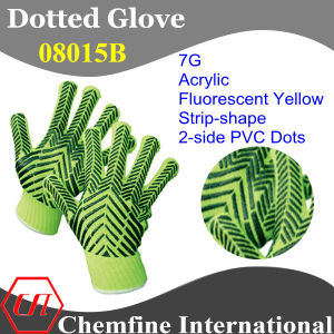 7g Fluorescent Yellow Acrylic Fiber Knitted Glove with 2-Side Black Strip-Shape PVC Dots pictures & photos