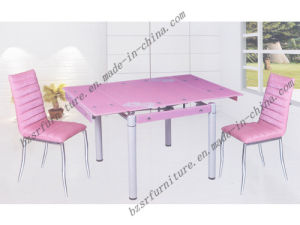 Tempered Glass Spray Paint Iron Tube Dining Table (ST-5203)