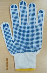 Natural White, Bleach White, Blue PVC Dotted Gloves pictures & photos