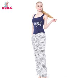Kuka Cartoon Heart Loose Long Pajama Trousers Home Wear