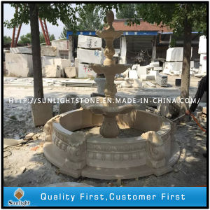 Garden Decoration Beige Marble Natural Stone Sculpture Water Fountain pictures & photos