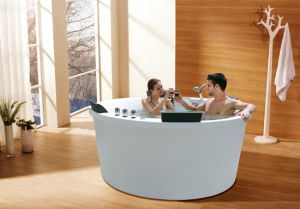 Round Shape Family Bathroom Good Quality White Color Acrylic Massage Bathtub (M-2057) pictures & photos