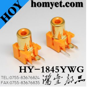 2pin RCA Jack with Gold Plating in Orange (HY-1845YWG) pictures & photos