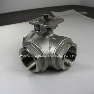 Pneumatic 3 Way Ball Valve with BSPT Screw End pictures & photos