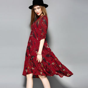 Floral Printed Elegant Loose Women Evening Dress pictures & photos