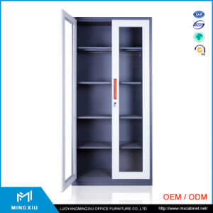 Luoyang Mingxiu 2 Door Laboratory Steel Glass Door Storage Cabinet / Steel Swing Door Filing Cabinet pictures & photos