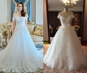 Short Sleeve Tulle Bridal Wedding Dress pictures & photos