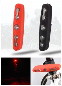 Silicon Waterproof Red 5 LED Bike Flashing Light Warning Safe Tail Lamp pictures & photos
