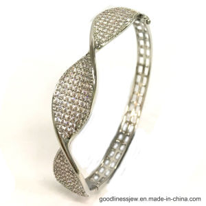 925 Silver Simple Style Bangle with 3A White CZ (G41361) pictures & photos