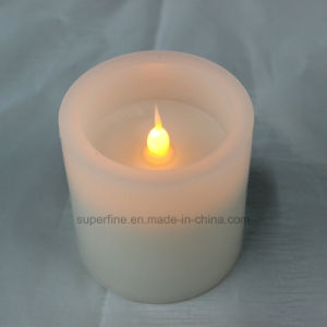 Electronic Realistic Amber Candle Flickering Flameless Wax LED Pillar Candle pictures & photos