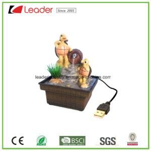 USB Polyresin Water Fountain Frog Figurines for Table Decoration pictures & photos