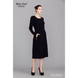 Miss You Ailinna 780163 Ladies Long Black Dress Wool Warm Dress pictures & photos