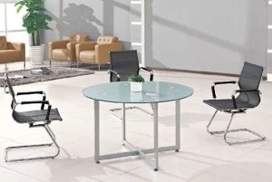 Silver Round Metal Leg Glass Conference Table /Desk (HX-GL063) pictures & photos