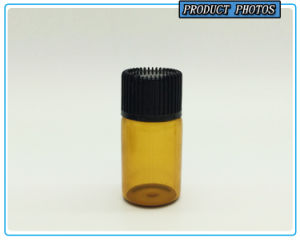 3ml Small Amber Glass Vial Essential Oil Bottle with Black Plastic Lid pictures & photos