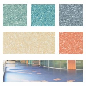 Homogeneous Commercial Laminating PVC Flooring in Roll pictures & photos
