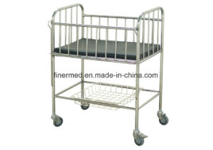 Stainless Steel Hospital Infant Bed with Castor pictures & photos