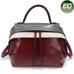 2017 Contrast Colors Ladies Genuine Leather Handbags Women Tote Bag Emg4868 pictures & photos