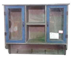 Antique Blue Painting Wood Storage Kitchen Cabinet