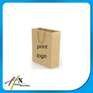 Custom Brown Kraft Paper Shopping Bag with Logo Print pictures & photos