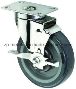 Medium Sized Biaxial PU Caster Wheels with Brake pictures & photos