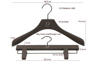 Fashion Black Leather Wooden Clothestop Hanger and Bottom Hanger pictures & photos