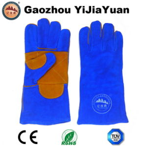Reinforcement Palm Cow Split Leather Industrial Welding Gloves for Construction pictures & photos