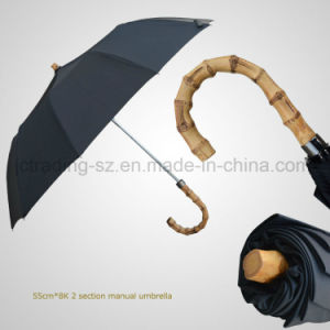 Bamboo Crook Handle 2 Section Manual Classic Umbrella pictures & photos